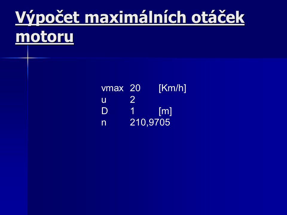Výpočet maximálních otáček motoru