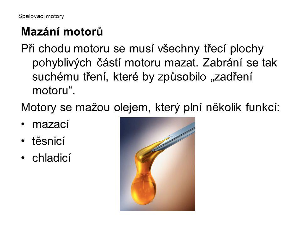 Motory se mažou olejem, který plní několik funkcí: mazací těsnicí