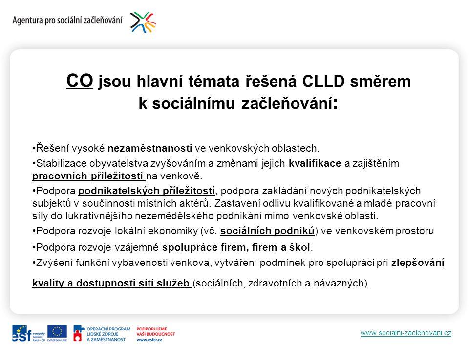 CO jsou hlavní témata řešená CLLD směrem k sociálnímu začleňování: