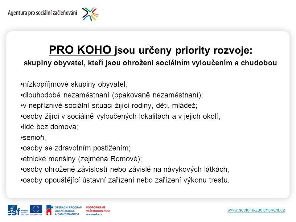 PRO KOHO jsou určeny priority rozvoje: