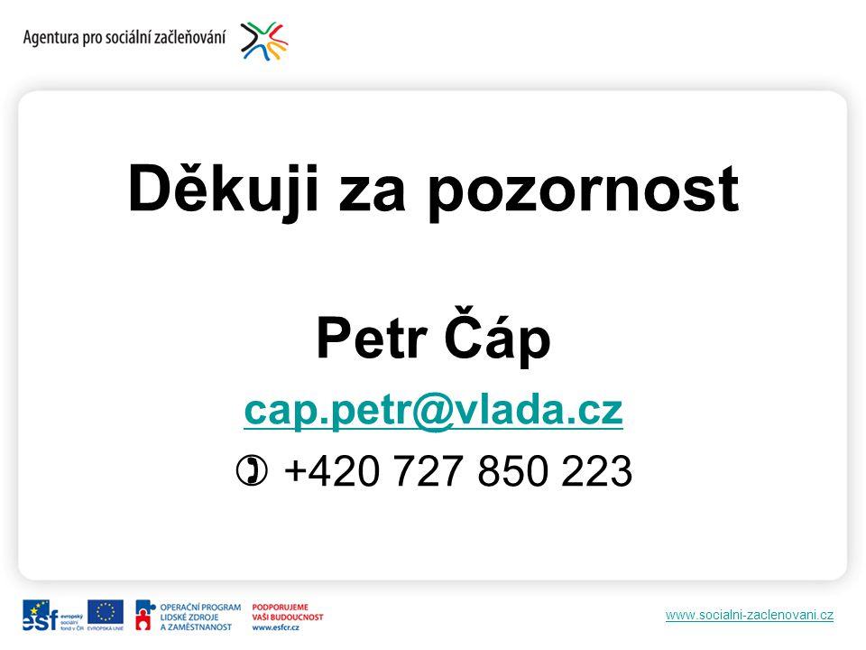 Děkuji za pozornost Petr Čáp cap.petr@vlada.cz ) +420 727 850 223