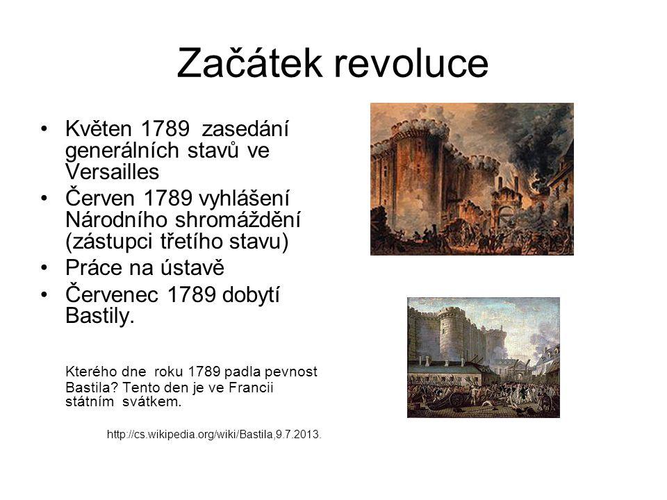 Začátek revoluce Květen 1789 zasedání generálních stavů ve Versailles