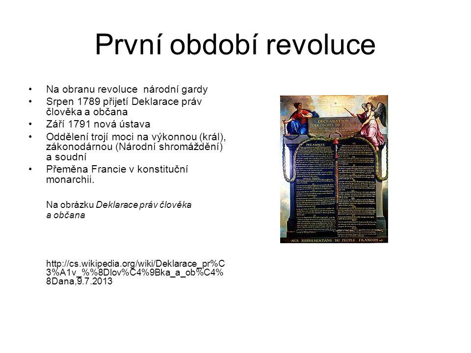 První období revoluce Na obranu revoluce národní gardy