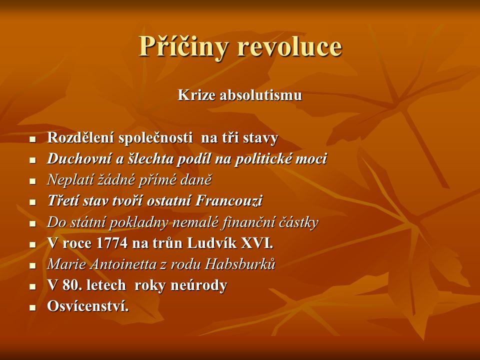 Příčiny revoluce Krize absolutismu Rozdělení společnosti na tři stavy