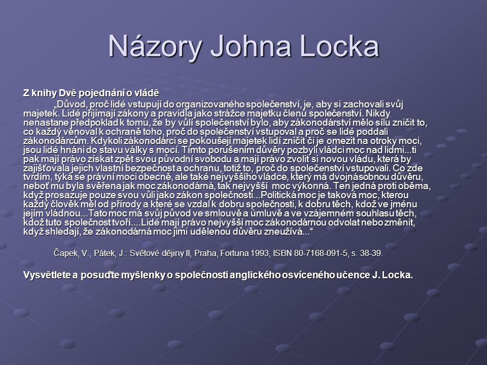 Názory Johna Locka Z knihy Dvě pojednání o vládě