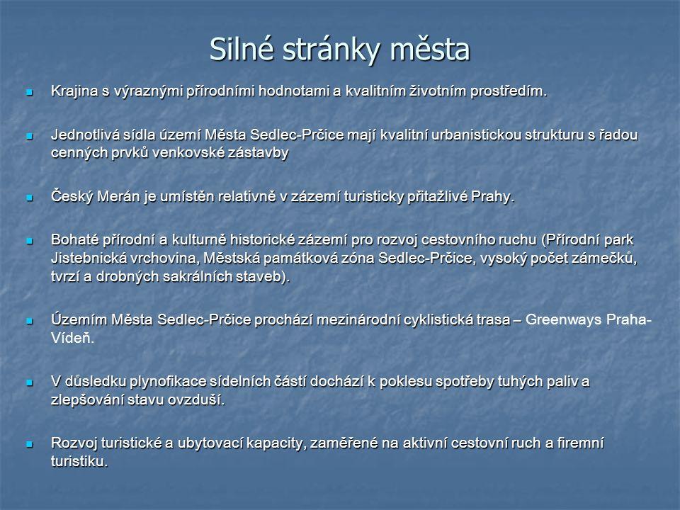 Silné stránky města Krajina s výraznými přírodními hodnotami a kvalitním životním prostředím.