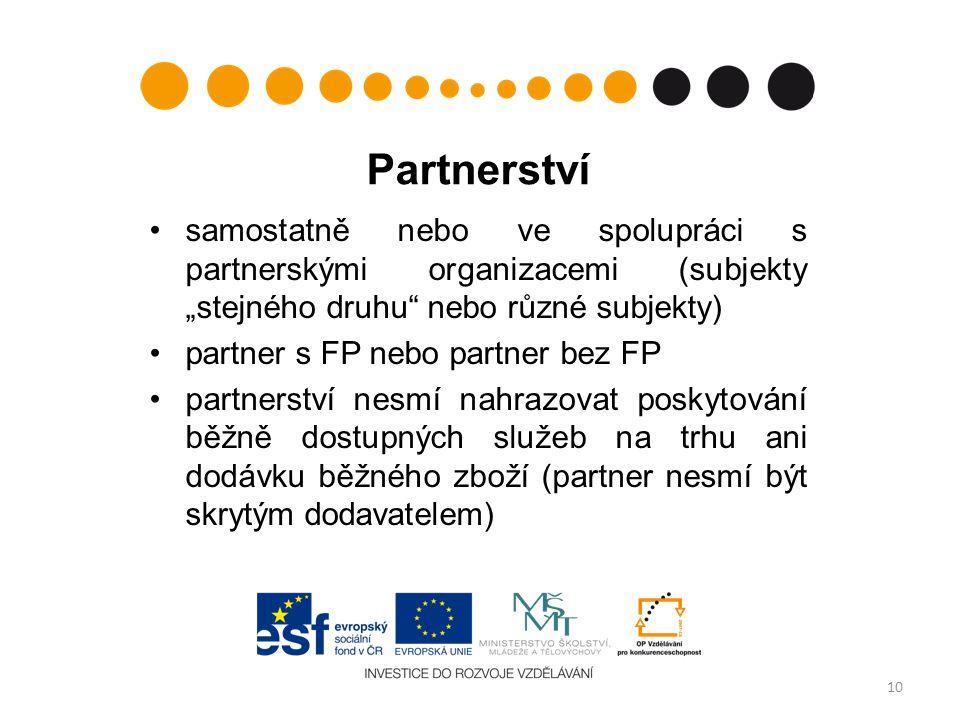 """Partnerství samostatně nebo ve spolupráci s partnerskými organizacemi (subjekty """"stejného druhu nebo různé subjekty)"""