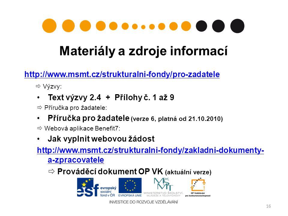 Materiály a zdroje informací
