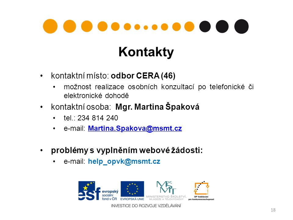 Kontakty kontaktní místo: odbor CERA (46)
