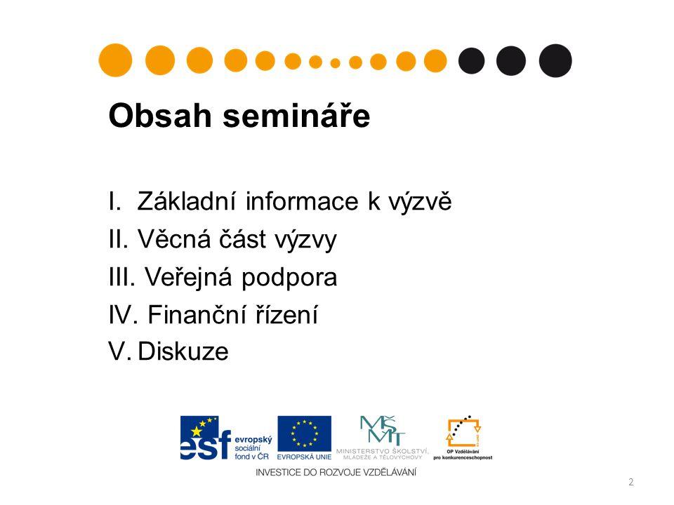 Obsah semináře Základní informace k výzvě Věcná část výzvy