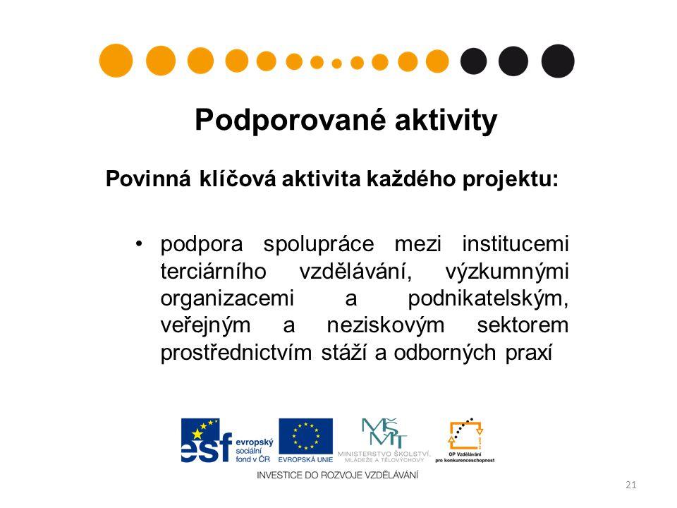Podporované aktivity Povinná klíčová aktivita každého projektu: