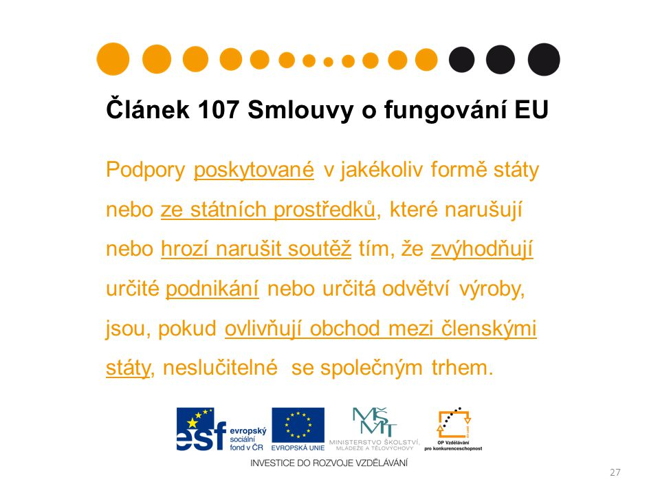 Článek 107 Smlouvy o fungování EU