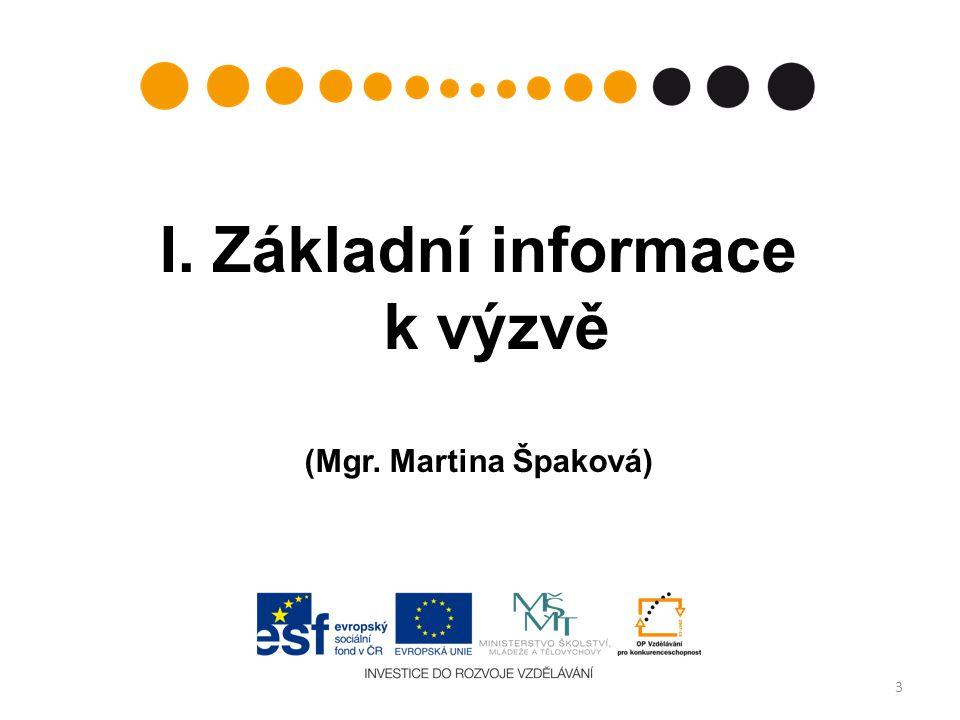I. Základní informace k výzvě
