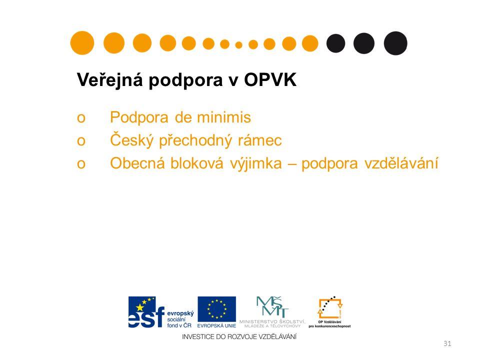 Veřejná podpora v OPVK Podpora de minimis Český přechodný rámec