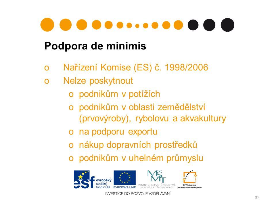 Podpora de minimis Nařízení Komise (ES) č. 1998/2006 Nelze poskytnout