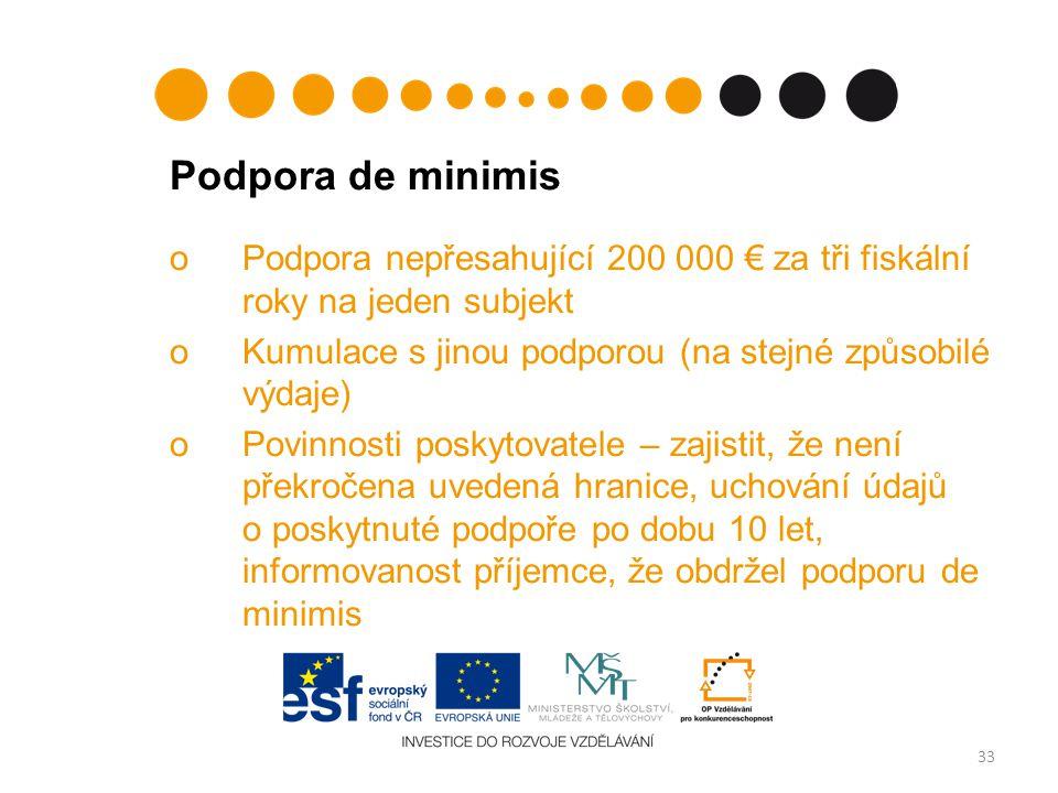 Podpora de minimis Podpora nepřesahující 200 000 € za tři fiskální roky na jeden subjekt. Kumulace s jinou podporou (na stejné způsobilé výdaje)
