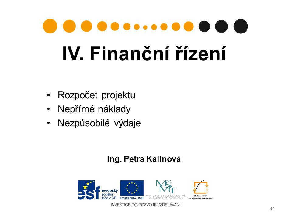 IV. Finanční řízení Rozpočet projektu Nepřímé náklady