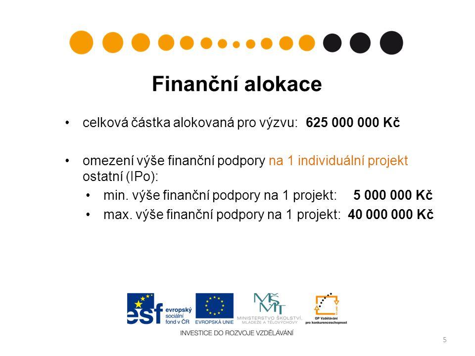 Finanční alokace celková částka alokovaná pro výzvu: 625 000 000 Kč