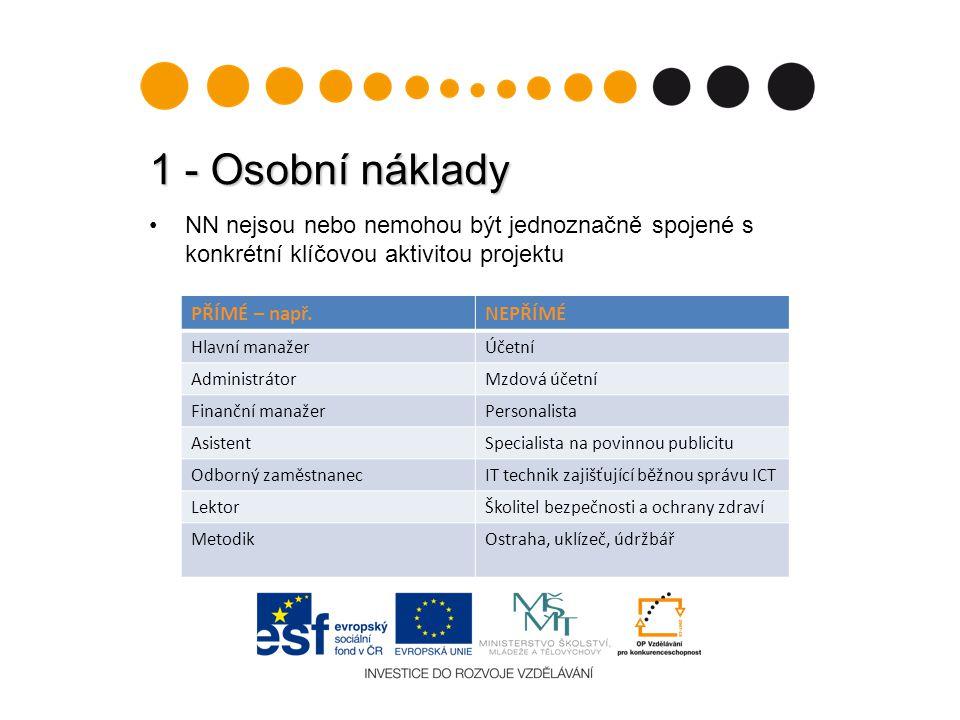 1 - Osobní náklady NN nejsou nebo nemohou být jednoznačně spojené s konkrétní klíčovou aktivitou projektu.