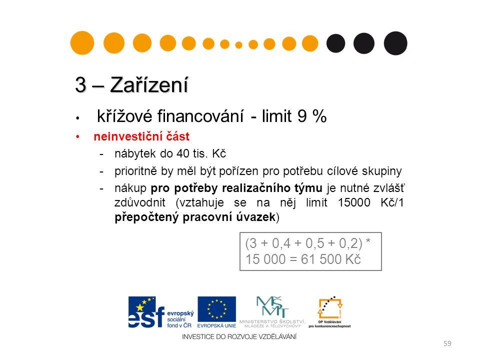 3 – Zařízení křížové financování - limit 9 % neinvestiční část. - nábytek do 40 tis. Kč. - prioritně by měl být pořízen pro potřebu cílové skupiny.