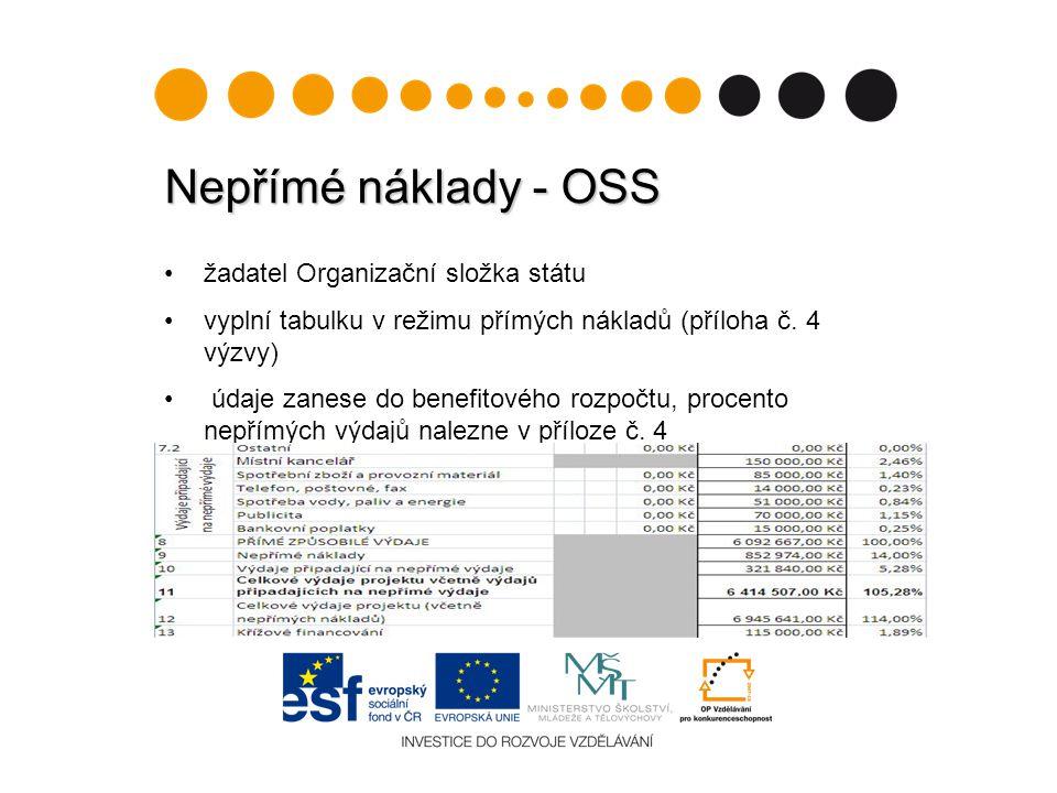 Nepřímé náklady - OSS žadatel Organizační složka státu