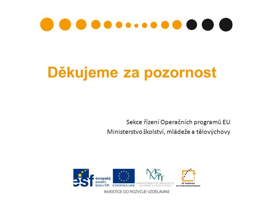 Děkujeme za pozornost Sekce řízení Operačních programů EU