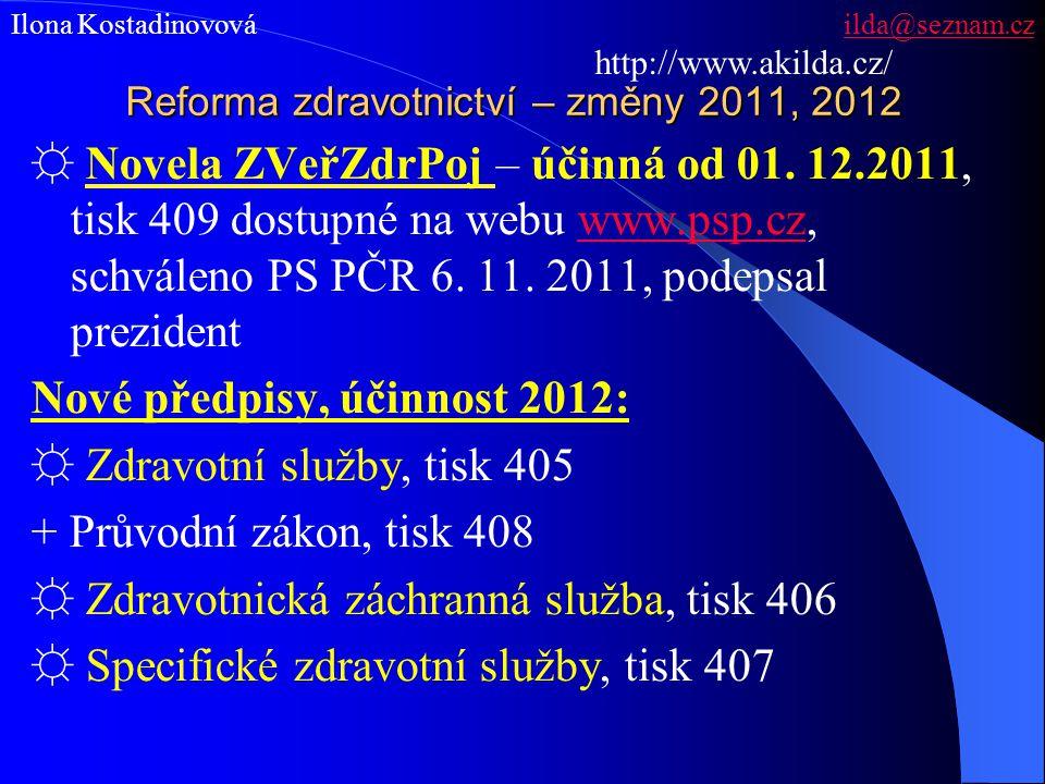 Reforma zdravotnictví – změny 2011, 2012