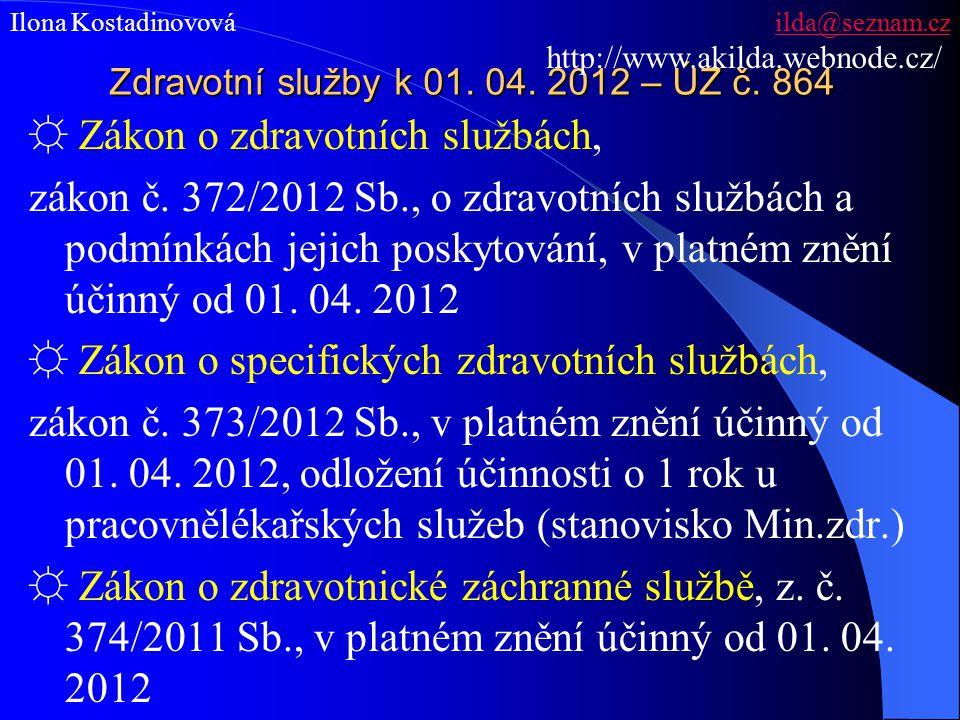 Zdravotní služby k 01. 04. 2012 – ÚZ č. 864