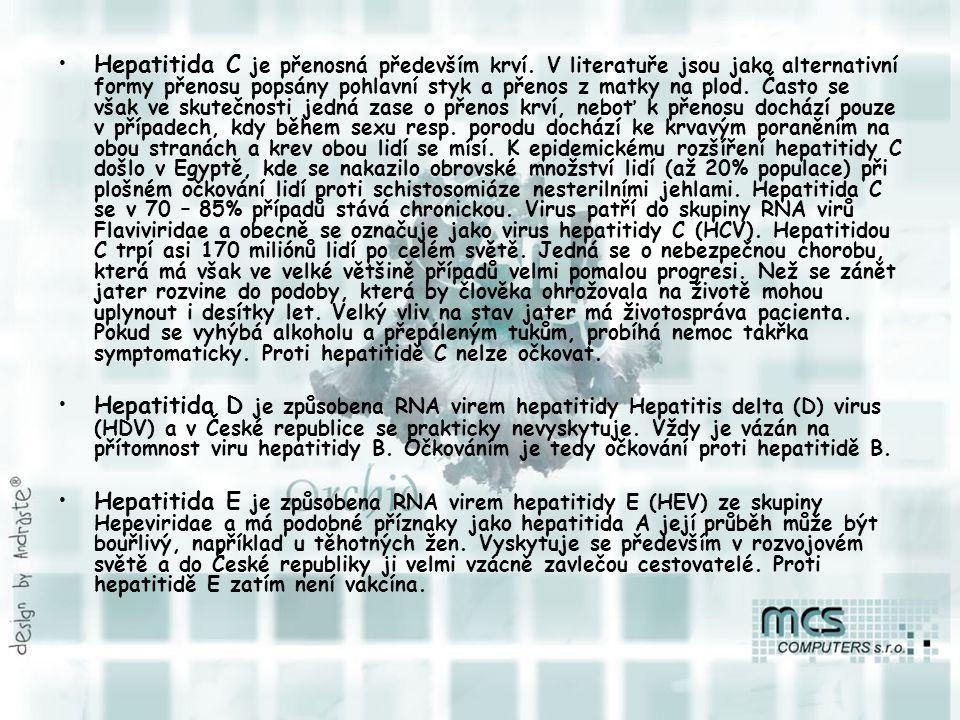Hepatitida C je přenosná především krví