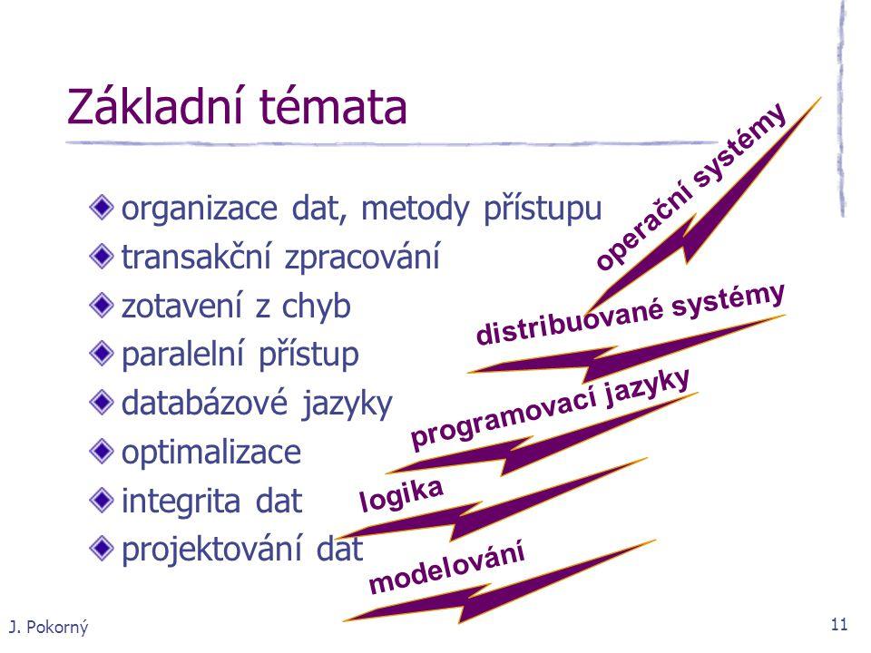 Základní témata organizace dat, metody přístupu transakční zpracování