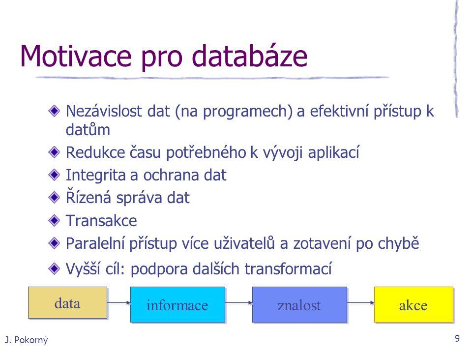Motivace pro databáze Nezávislost dat (na programech) a efektivní přístup k datům. Redukce času potřebného k vývoji aplikací.