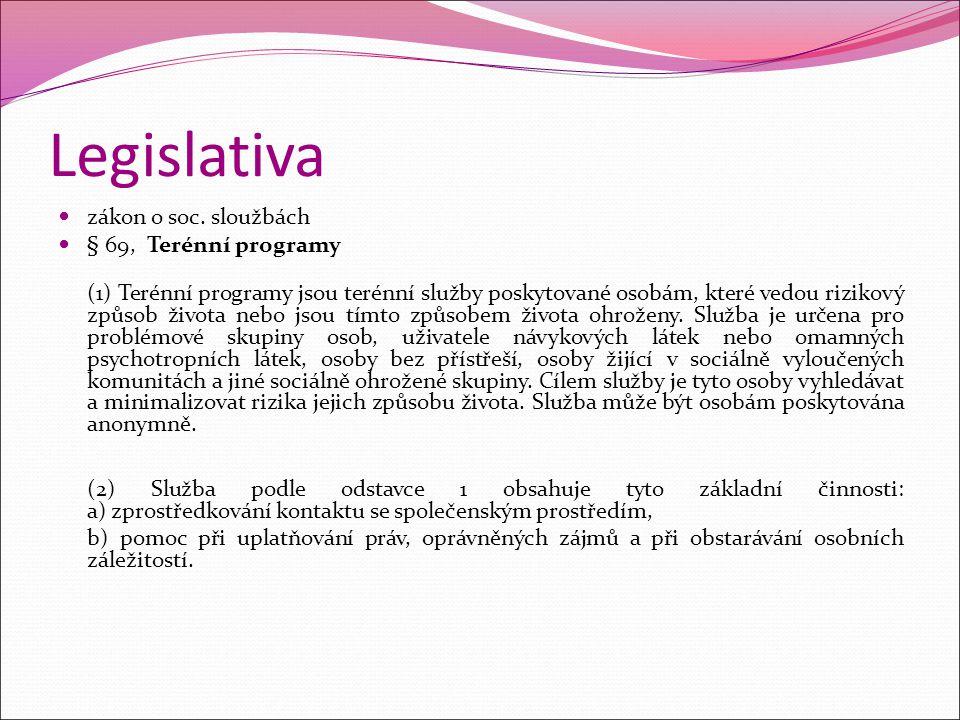 Legislativa zákon o soc. sloužbách § 69, Terénní programy