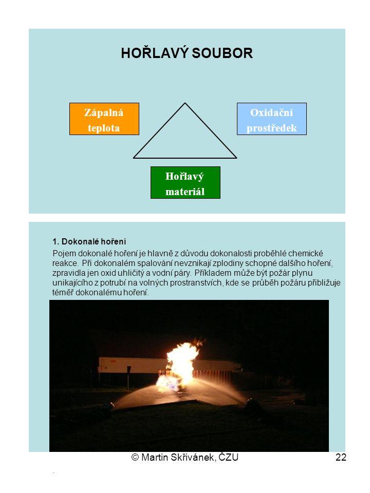 HOŘLAVÝ SOUBOR Zápalná teplota Oxidační prostředek Hořlavý materiál