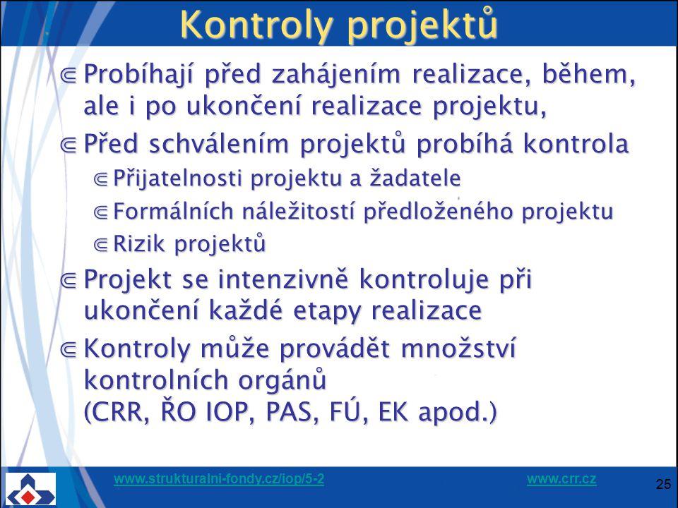 Kontroly projektů Probíhají před zahájením realizace, během, ale i po ukončení realizace projektu, Před schválením projektů probíhá kontrola.