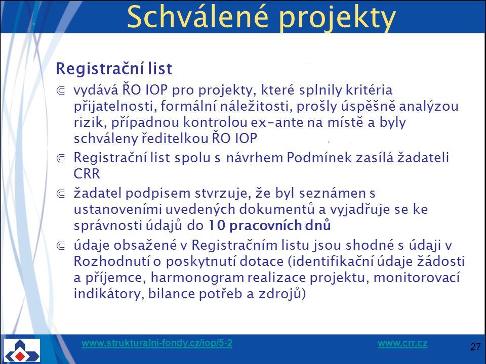 Schválené projekty Registrační list