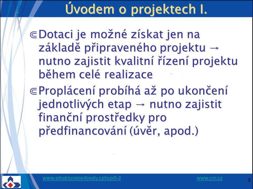 Úvodem o projektech I. Dotaci je možné získat jen na základě připraveného projektu → nutno zajistit kvalitní řízení projektu během celé realizace.