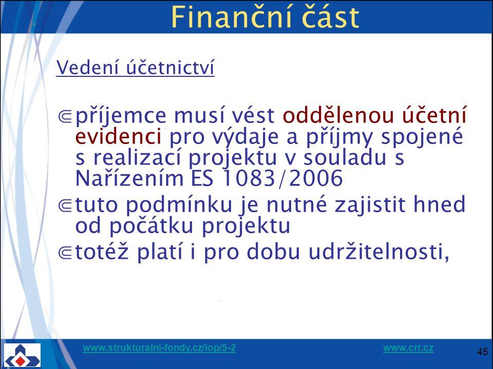 Finanční část Vedení účetnictví.