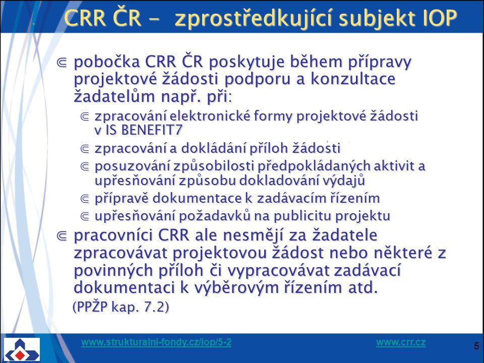 CRR ČR - zprostředkující subjekt IOP