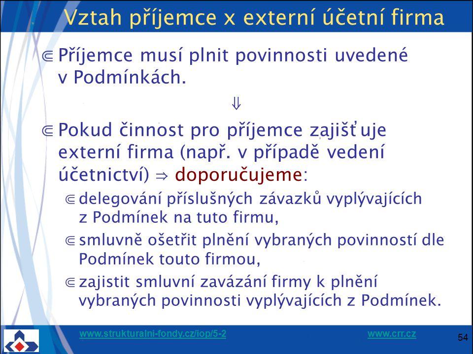 Vztah příjemce x externí účetní firma