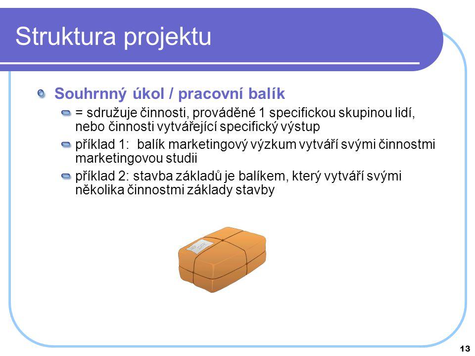 Struktura projektu Souhrnný úkol / pracovní balík