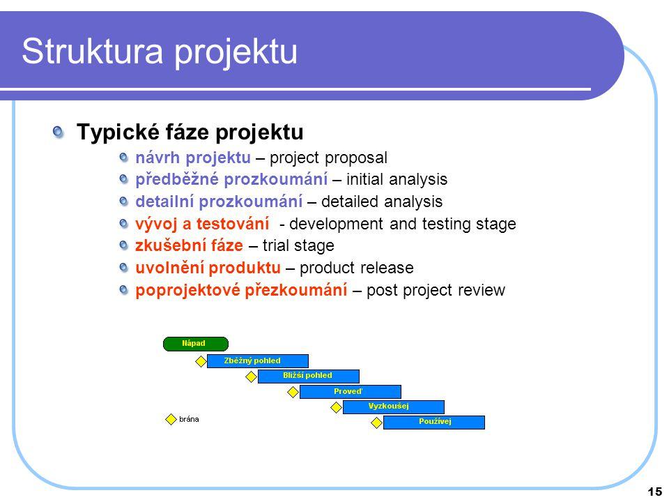Struktura projektu Typické fáze projektu