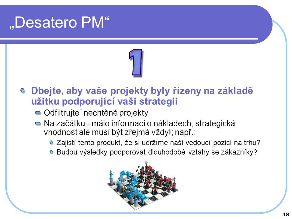 """""""Desatero PM Dbejte, aby vaše projekty byly řízeny na základě užitku podporující vaši strategii. Odfiltrujte nechtěné projekty."""