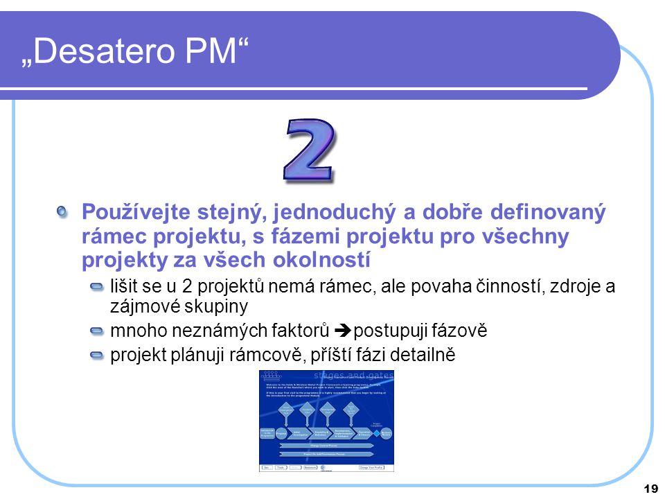 """""""Desatero PM Používejte stejný, jednoduchý a dobře definovaný rámec projektu, s fázemi projektu pro všechny projekty za všech okolností."""