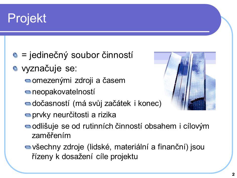 Projekt = jedinečný soubor činností vyznačuje se: