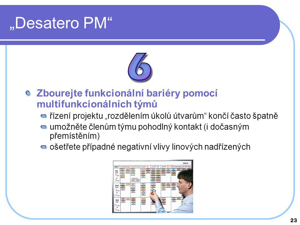 """""""Desatero PM Zbourejte funkcionální bariéry pomocí multifunkcionálních týmů. řízení projektu """"rozdělením úkolů útvarům končí často špatně."""