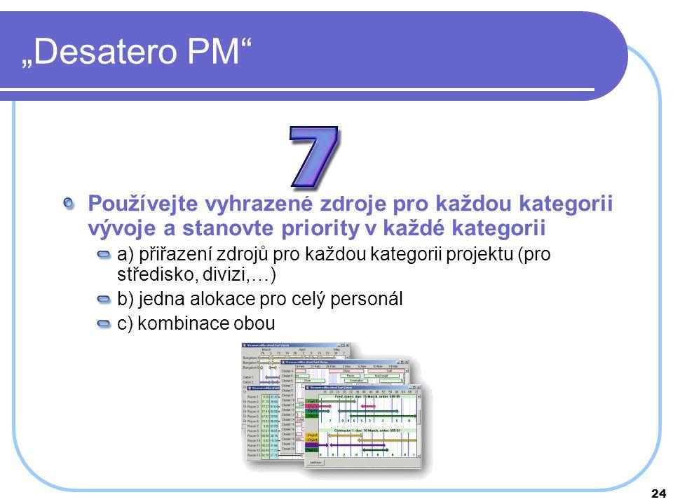 """""""Desatero PM Používejte vyhrazené zdroje pro každou kategorii vývoje a stanovte priority v každé kategorii."""