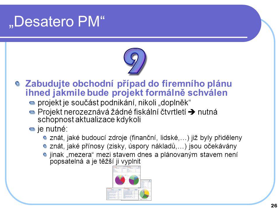 """""""Desatero PM Zabudujte obchodní případ do firemního plánu ihned jakmile bude projekt formálně schválen."""