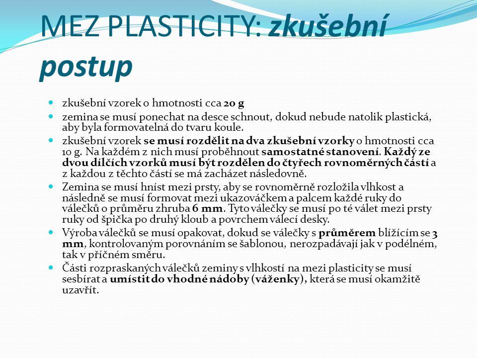 MEZ PLASTICITY: zkušební postup