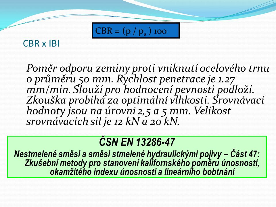 CBR = (p / ps ) 100 CBR x IBI.