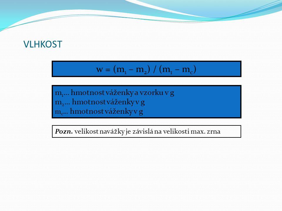 VLHKOST w = (m1 – m2) / (m1 – mc) m1… hmotnost váženky a vzorku v g